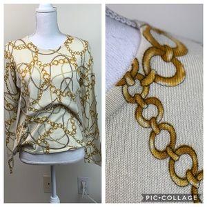 J. McLaughlin chains & pearls lightweight sweater